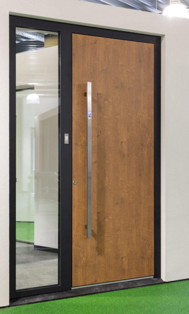 Aluminium voordeur houtlook